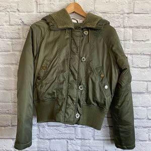 JLO Army Green Bomber Jacket Down Feather Filled